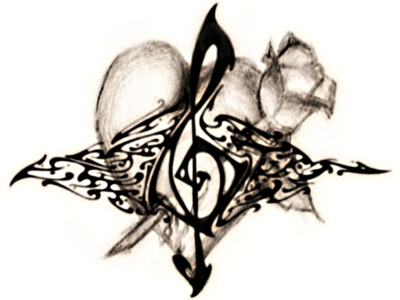 Heart music tattoo design
