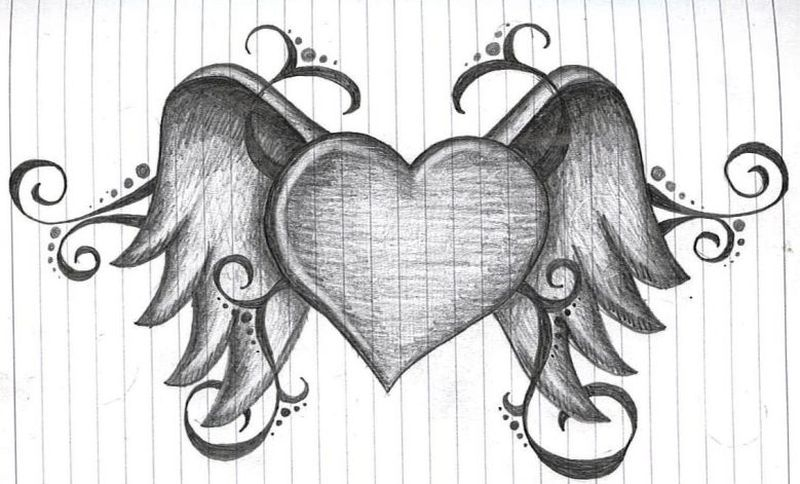 Heart with wings tattoo sketch  Tattoos Book