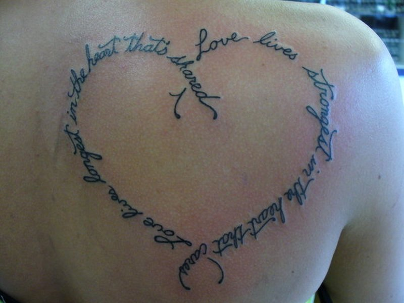Heart With Words Simson Tattoo On Back