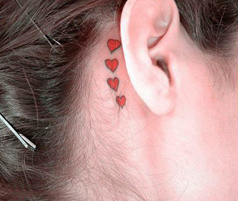 Hearts tattoo art for ear backside