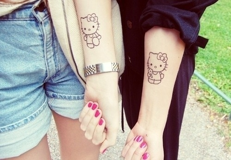 Hello kitty friendship tattoo for girls