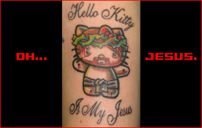 Hello kitty jesus tattoo design