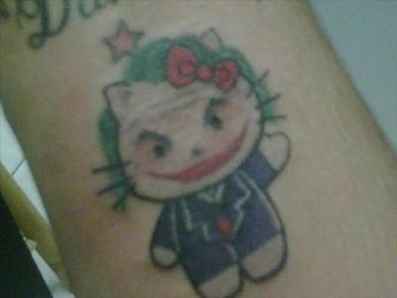 Hello kitty joker tattoo design