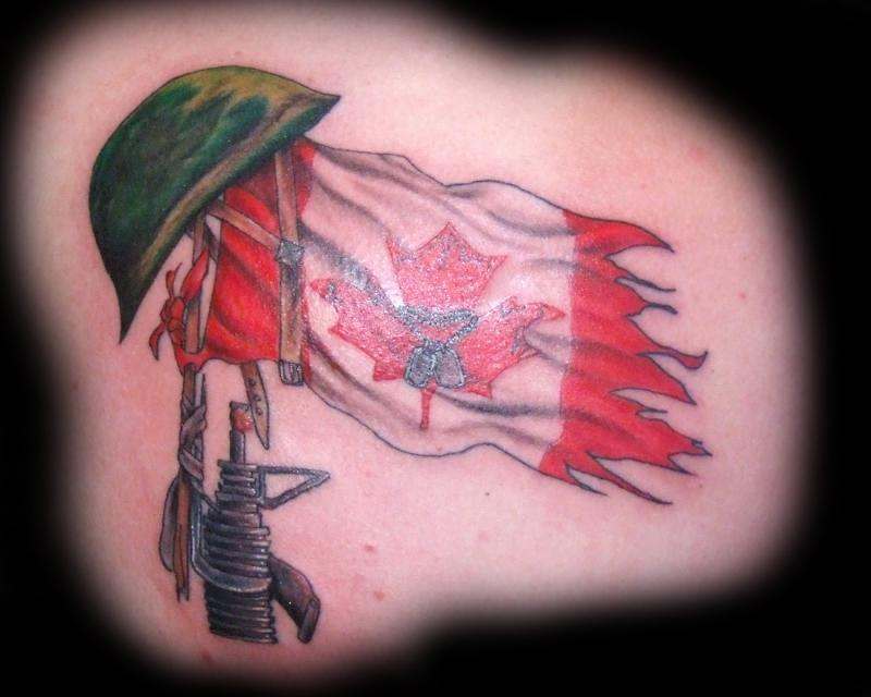 Helmet canadian flag tattoo design