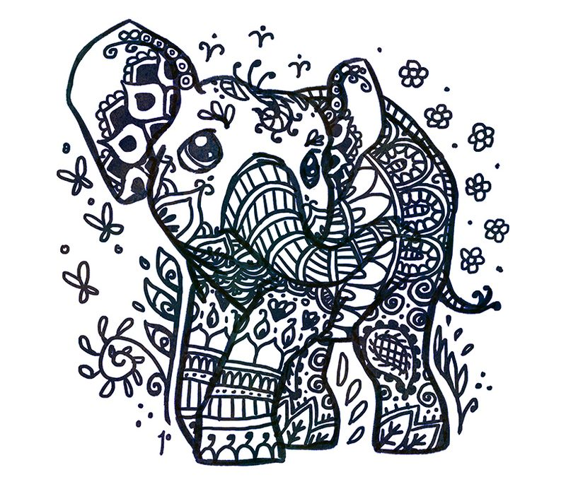 Henna elephant tattoo design