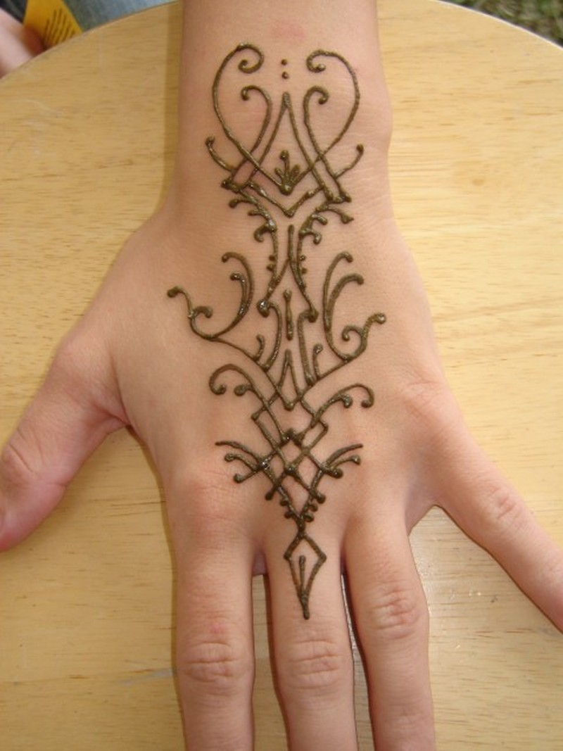 Henna tattoo design picture on back of hand