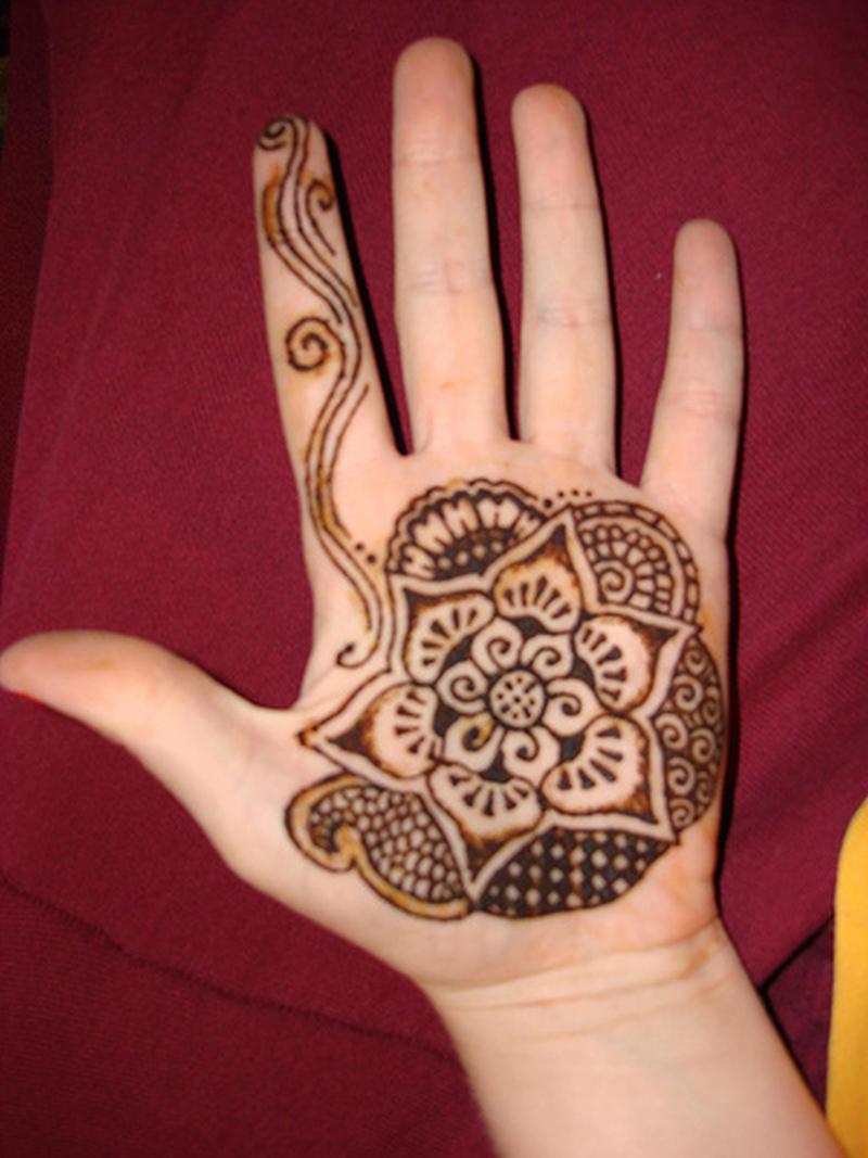 Henna tattoo on palm of left hand