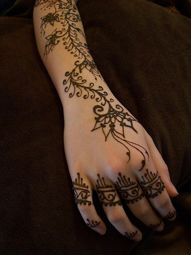 Henna tattooed arm