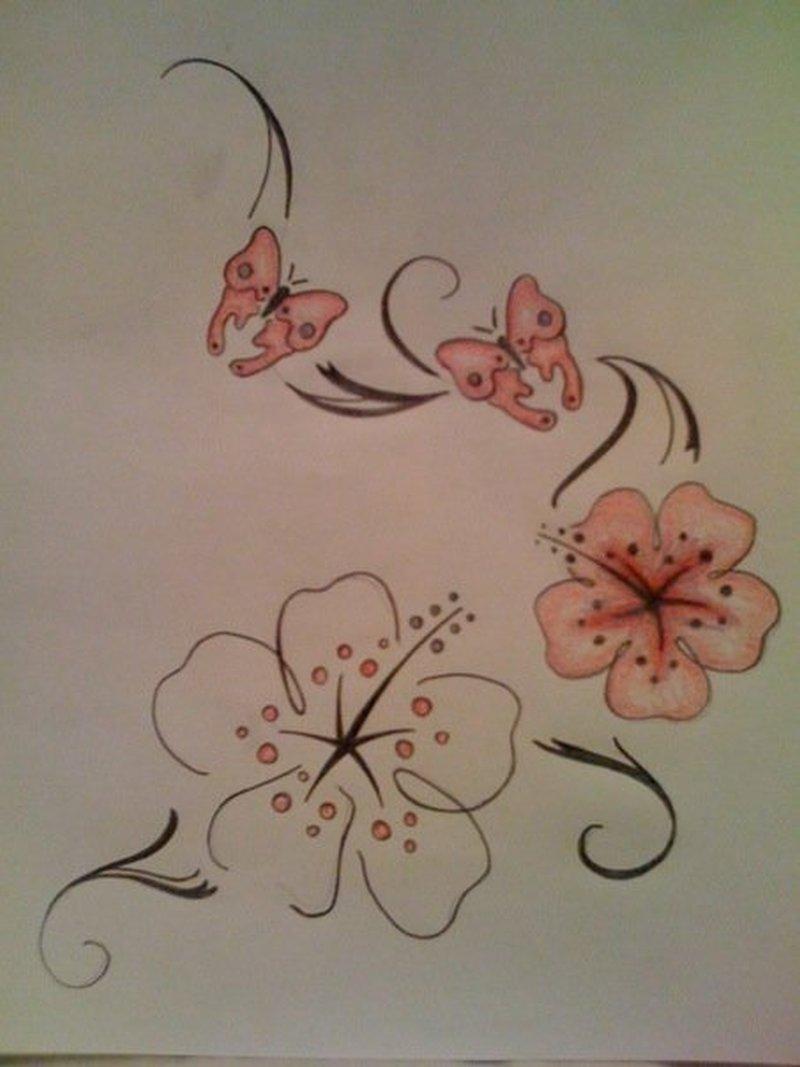 Hibiscus butterflies tattoo designs