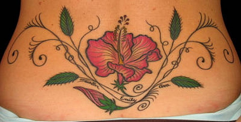 Hibiscus Flower N Leaves Tattoo On Lower Back Tattoos Book