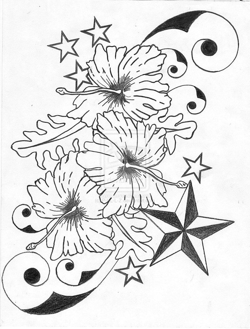 Hibiscus flower n nautical star tattoo designs tattoos book hibiscus flower n nautical star tattoo designs izmirmasajfo