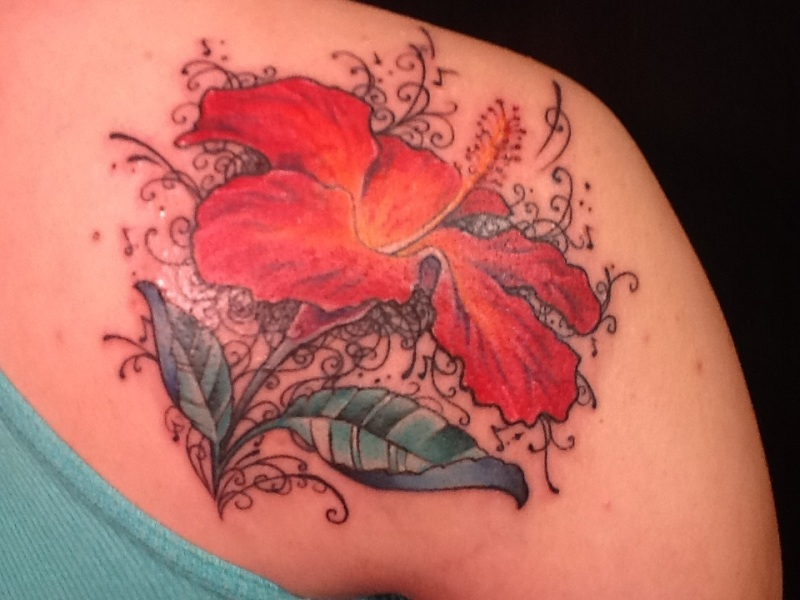 Hibiscus Flower Tattoo On Back Of Shoulder Tattoos Book 65000