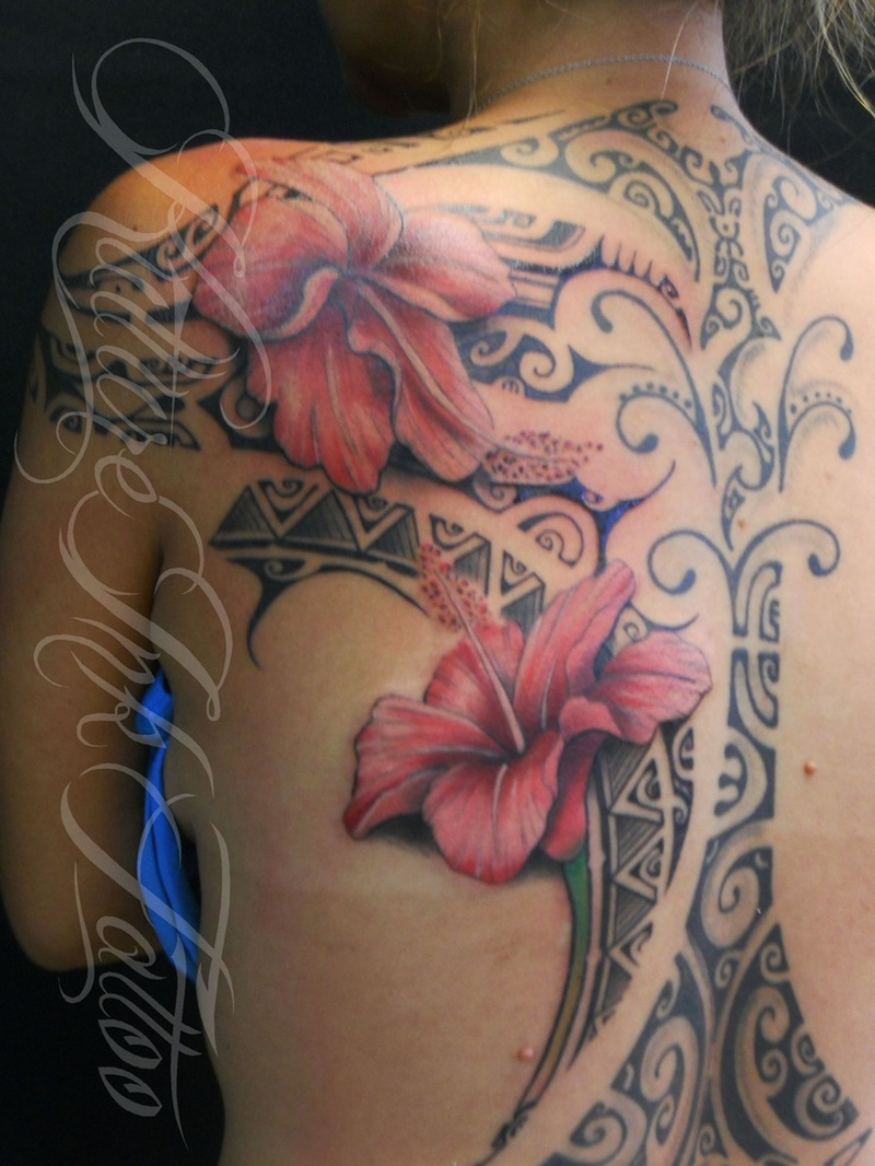 Hibiscus flowers with tahitian tattoo on back tattoos book hibiscus flowers with tahitian tattoo on back izmirmasajfo