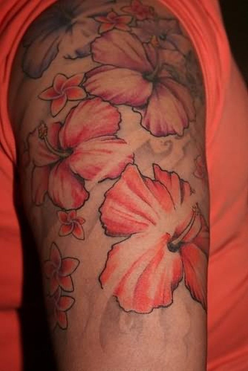 Hibiscus sleeve tattoo design