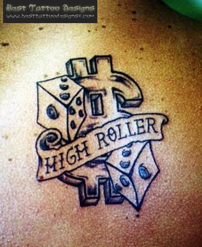 High roller dice card gambling tattoo design