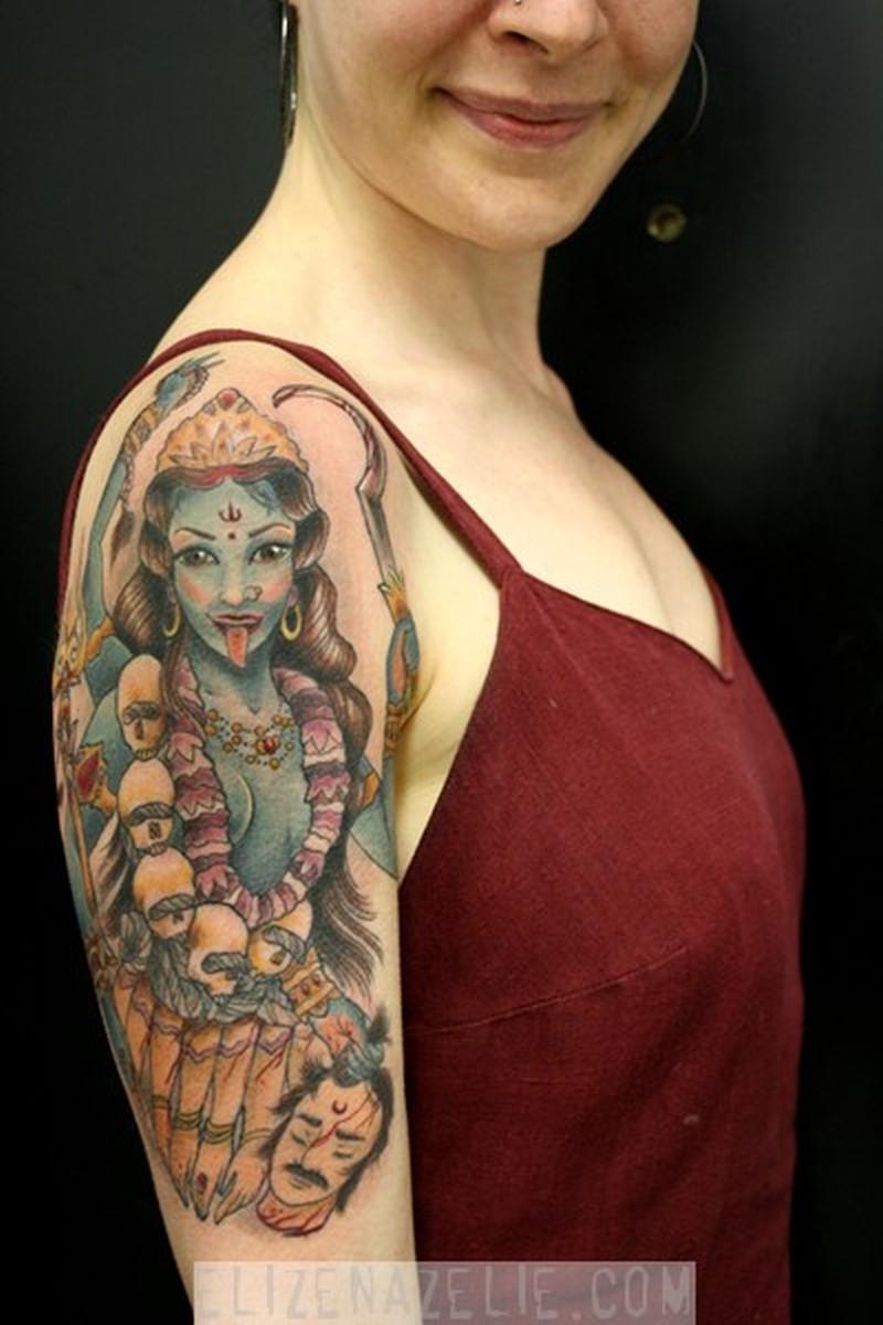 hindu goddess kali tattoo on shoulder for girls tattoos book tattoos designs. Black Bedroom Furniture Sets. Home Design Ideas