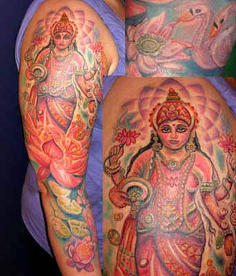 Hindu lotus swan tattoo on sleeve