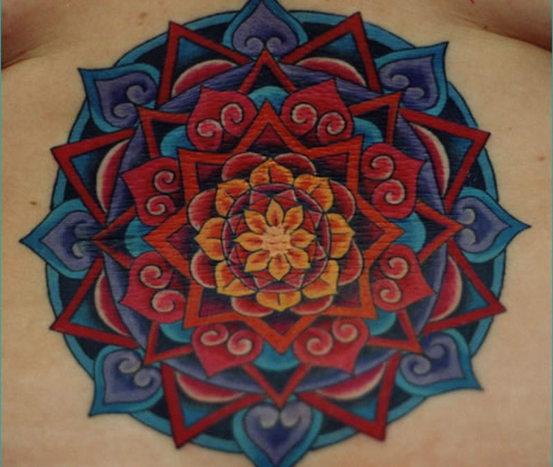 Hinduism mandala tattoo on lowerback