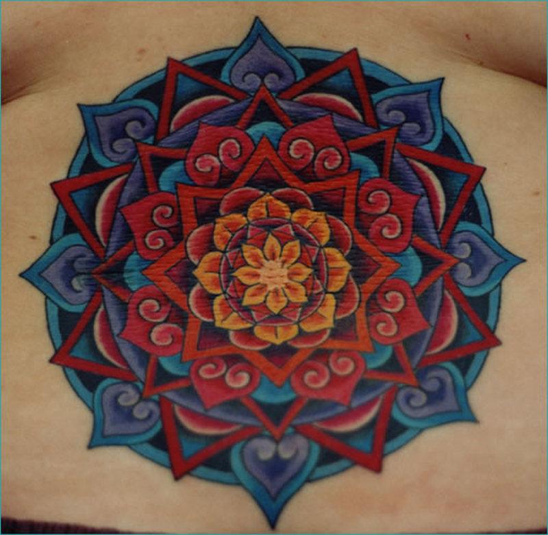 Hinduism mandala tattoo on lowerback