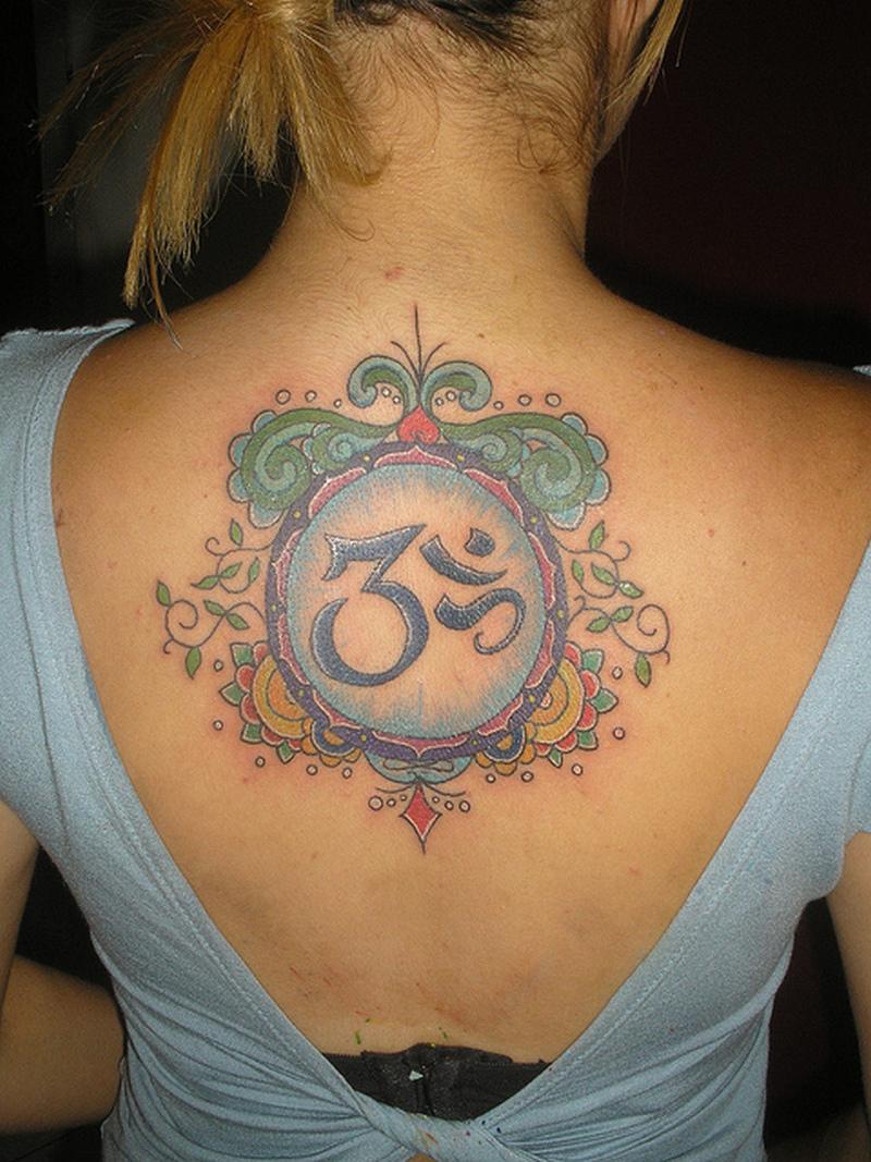 Hinduism mandala tattoo on upper back