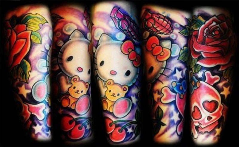Hippie hello kitty tattoo design