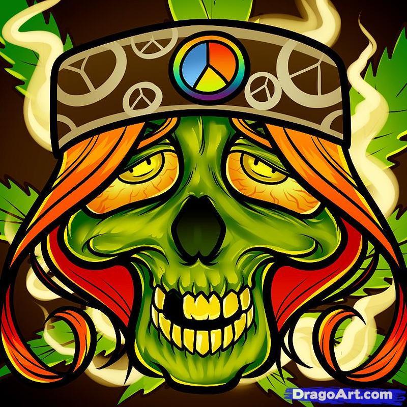 Hippie skull tattoo art 2