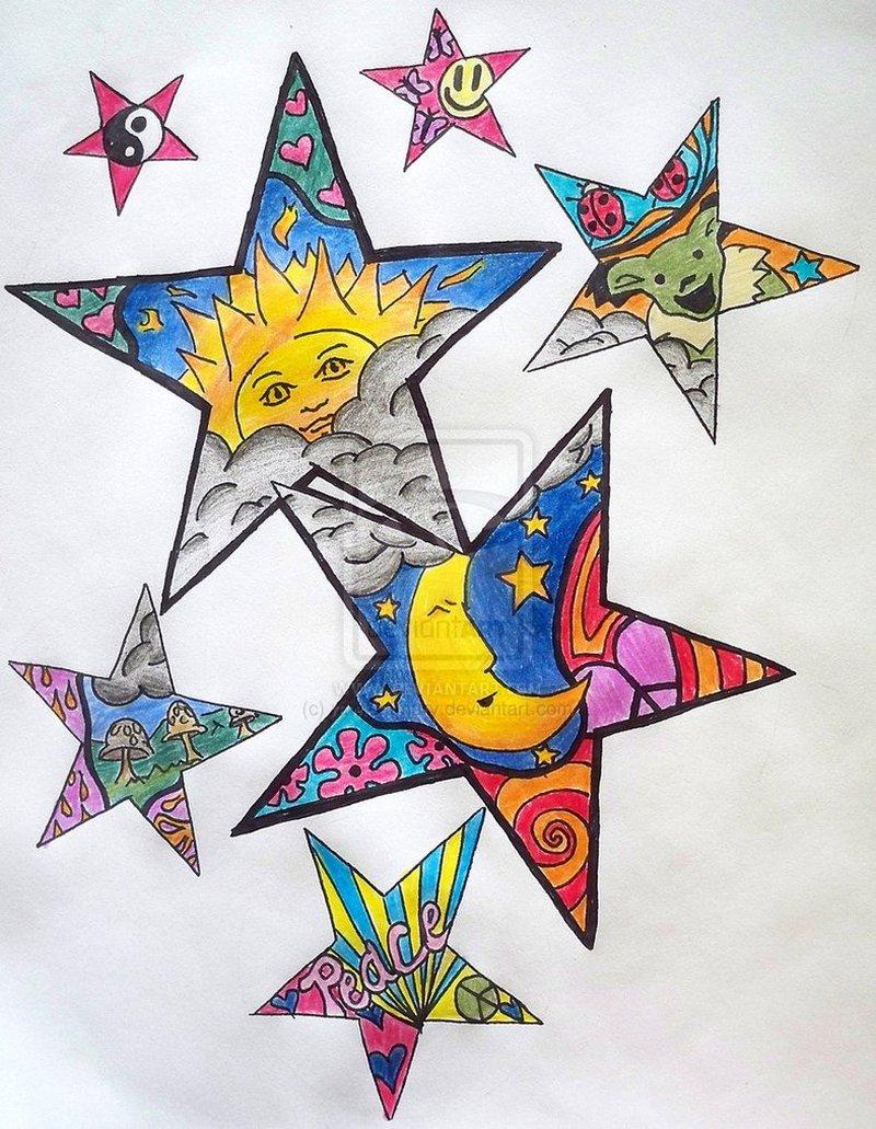 Hippie stars tattoo design