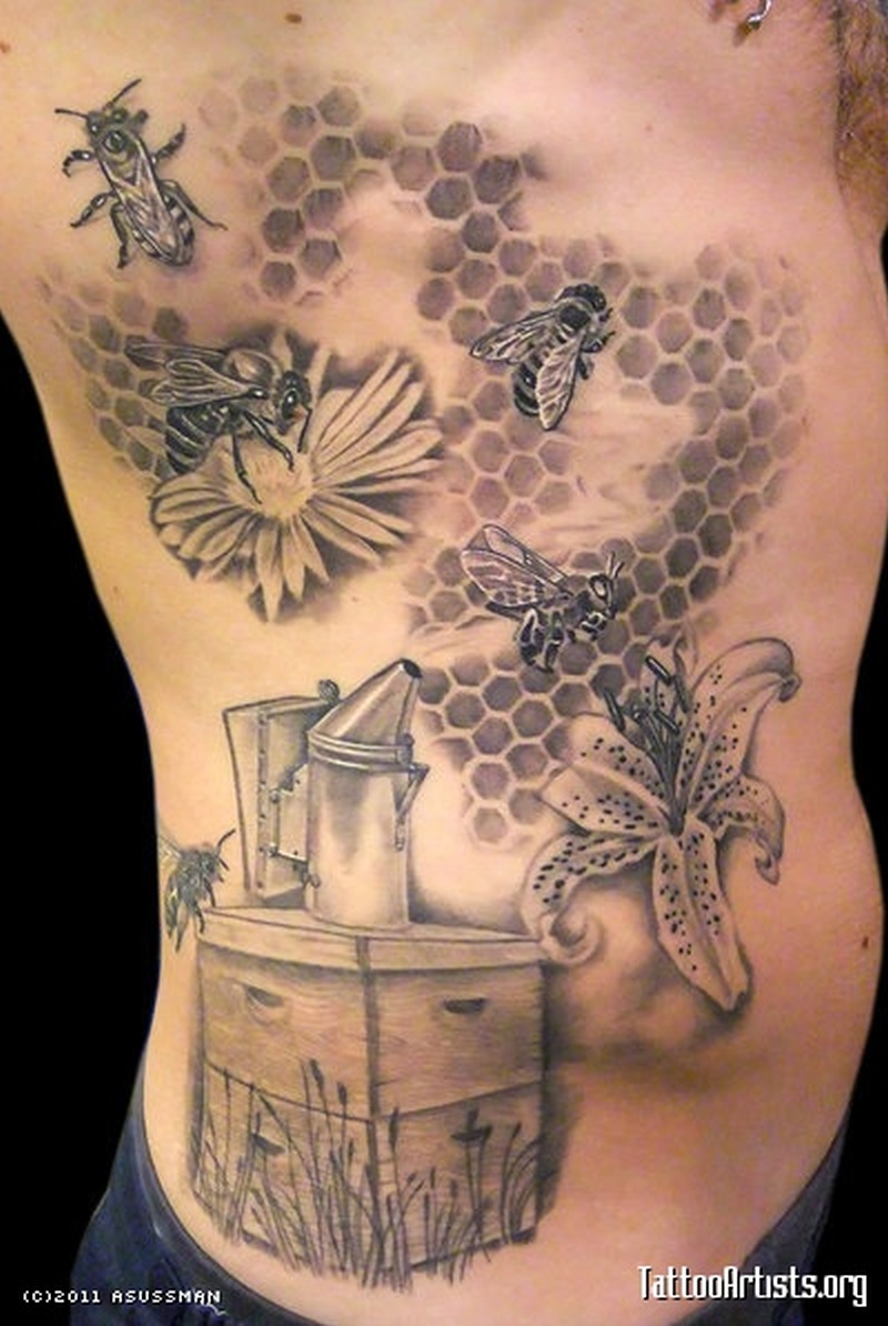Honey bee tattoo on rib side