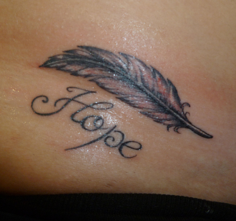 Hope feather tattoo design