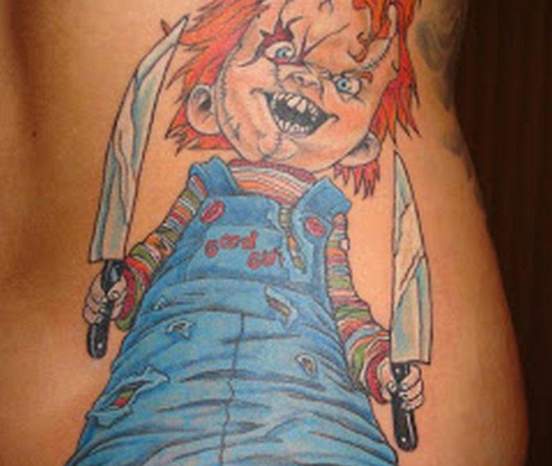 Horror chucky tattoo on waist