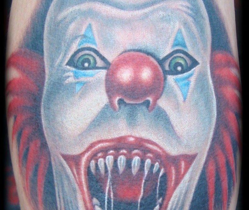 Horror clown tattoo design