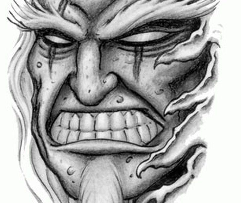 Horror demon tattoo stencil
