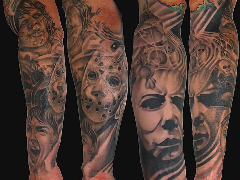 Horror film classics tattoo design