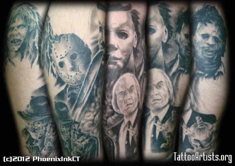 Horror icon leg sleeve tattoo design