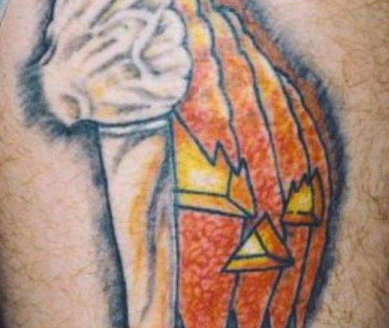 Horror mask n knife tattoo design