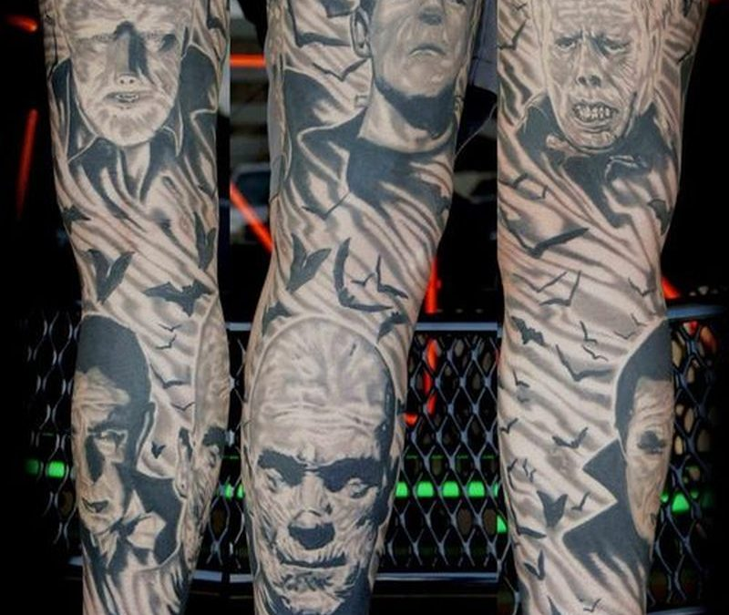 Horror movie sleeve tattoo design