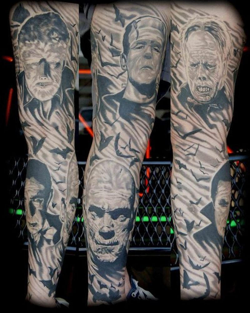 Horror movie sleeve tattoo design