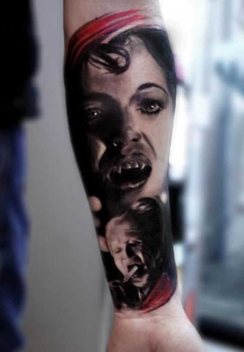 Horror scene tattoo on forearm