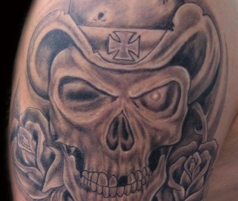 Horror skull tattoo design