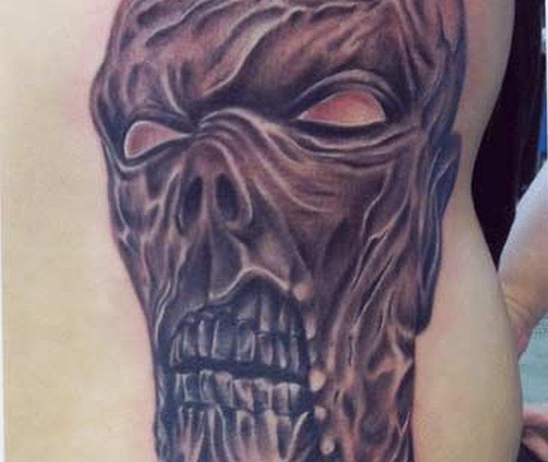 Horror zombie horror tattoo on waist
