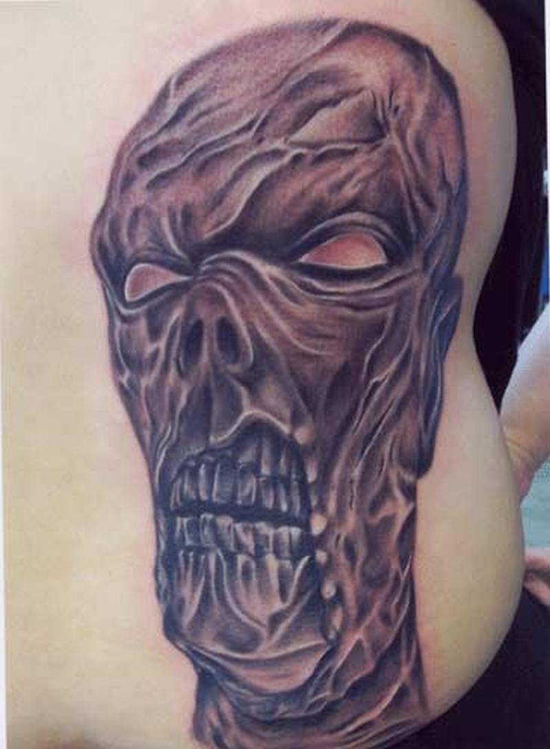 Horror zombie horror tattoo on waist