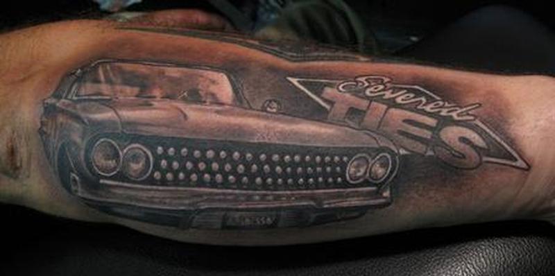 Hot rod car tattoo on forearm