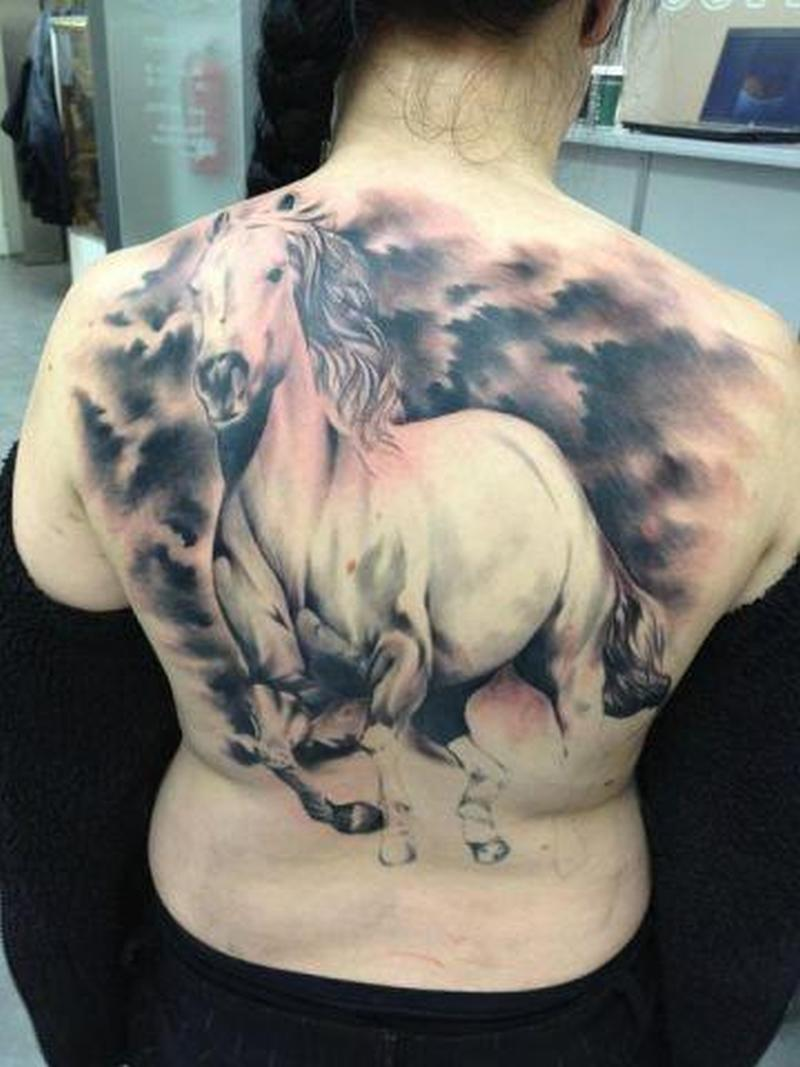cea8a5921684f Huge running horse on back of body tattoo - Tattoos Book - 65.000 ...