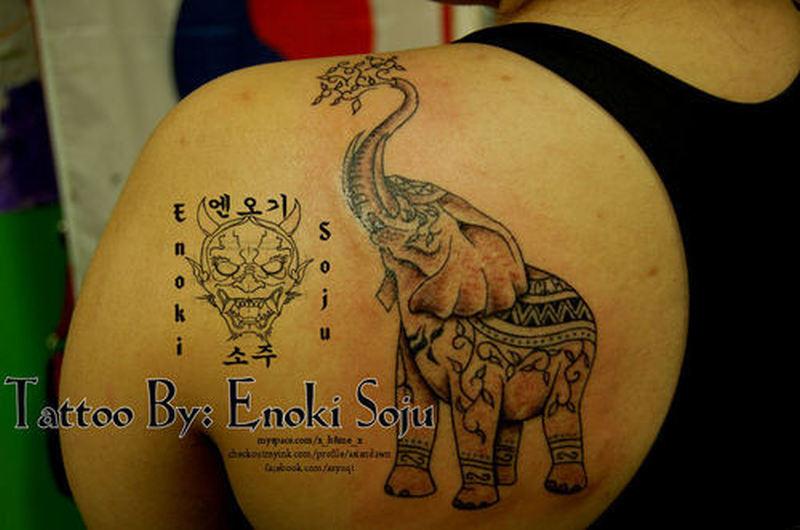 6f017e0fa2ce3 Indian elephant tattoo on back of shoulder - Tattoos Book - 65.000 ...