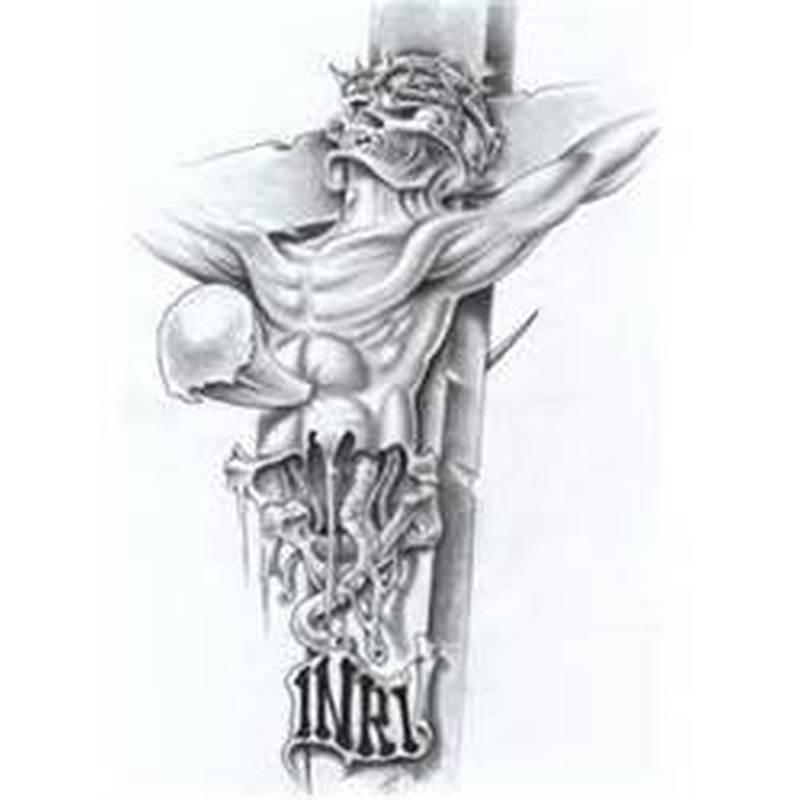 Inri jesus tattoo design