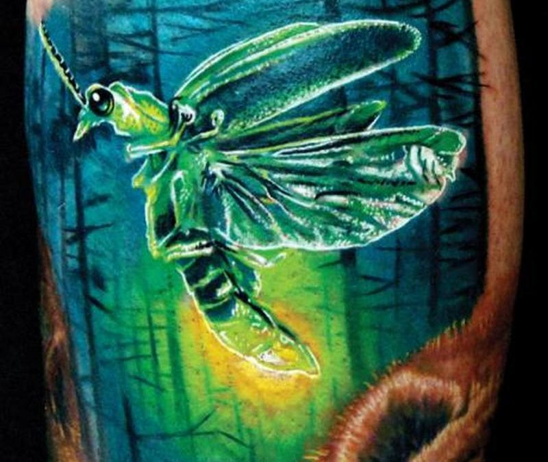 Insect firefly design tattoo