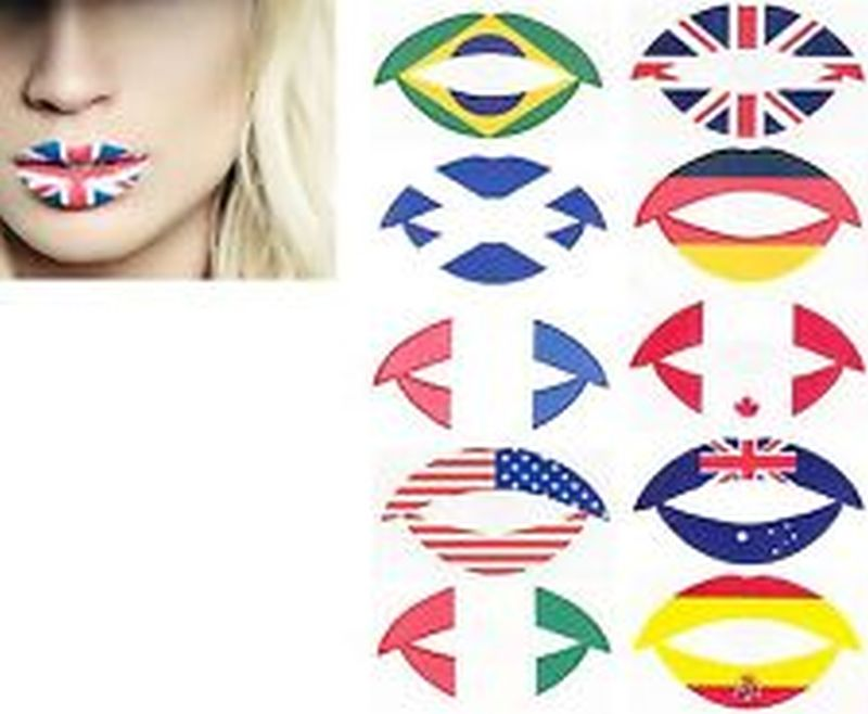 International flags tattoo for girls lips