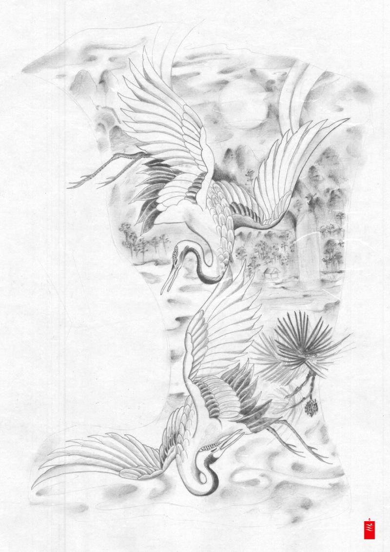 japanese crane dance tattoo design tattoos book tattoos designs. Black Bedroom Furniture Sets. Home Design Ideas