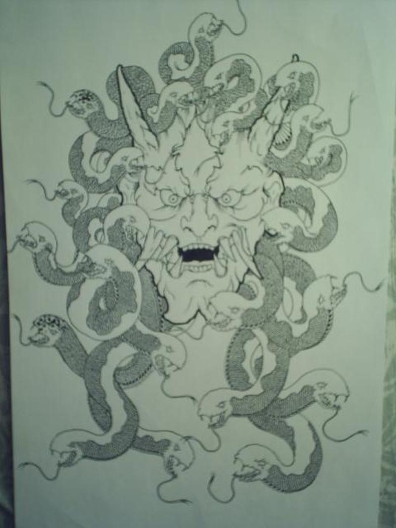 Japanese demon tattoo design 3