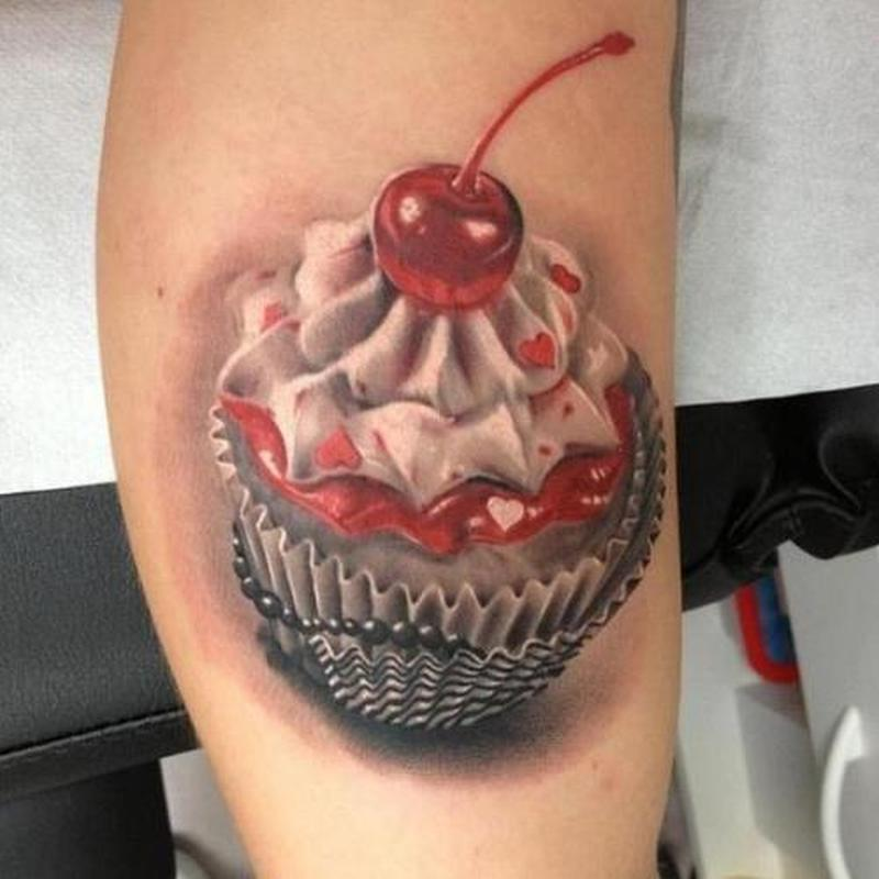 Jelly cup cake tattoo
